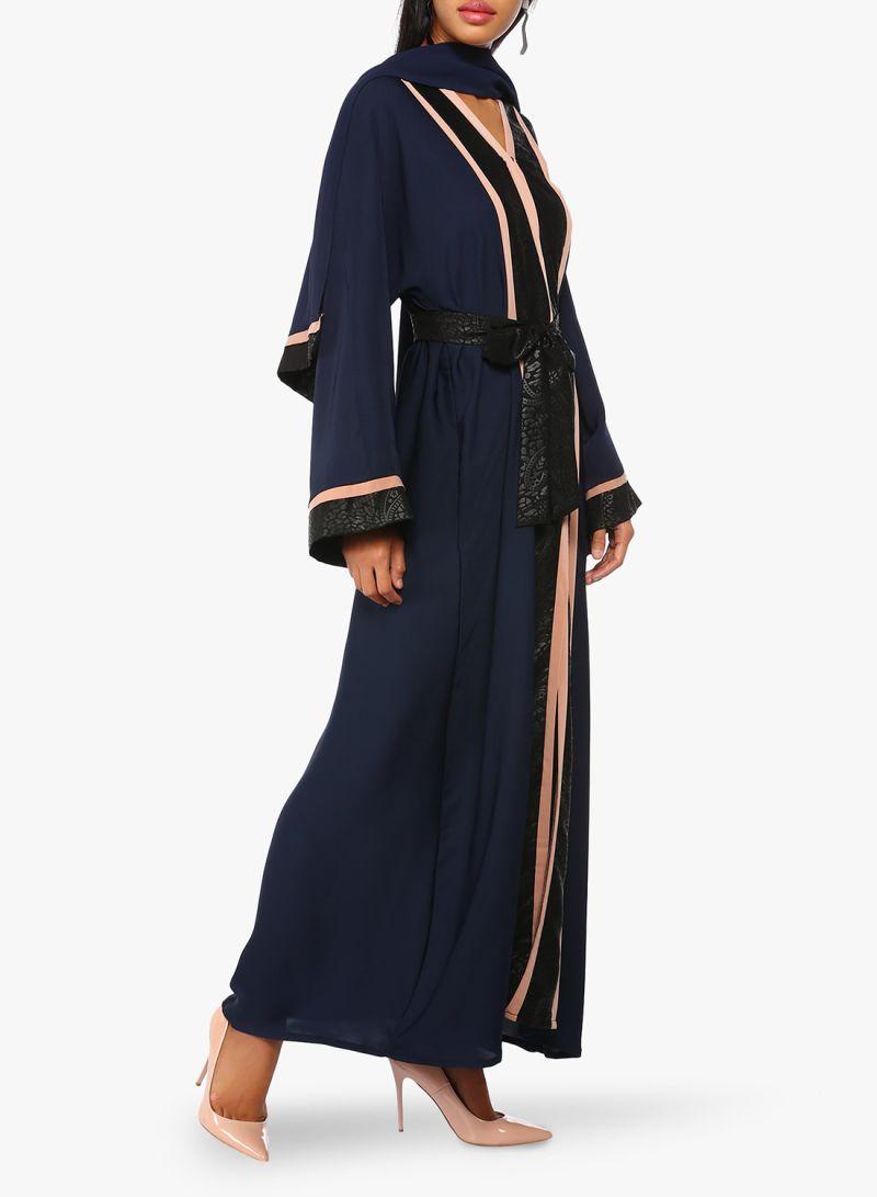 b3aa88386 اشتري عباية بألوان متباينة وأكمام طويلة أزرق البحرية أسود في السعودية