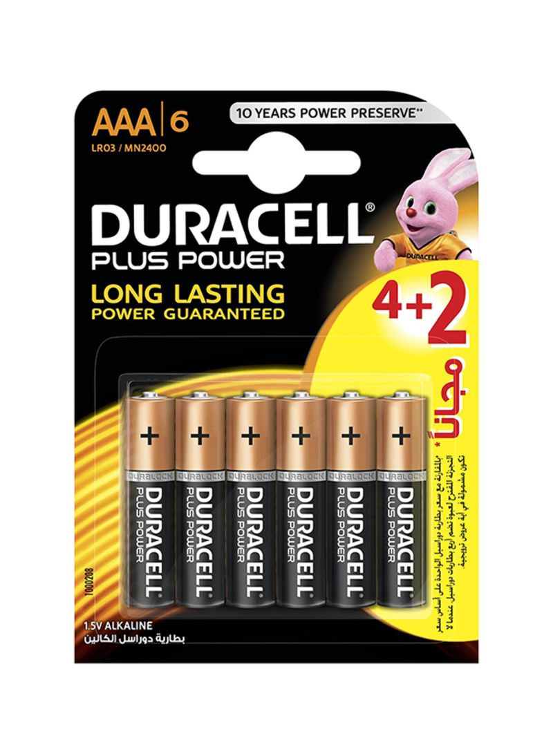Shop DURACELL Pack of 6 Power Plus AAA Battery AAA online in Dubai, Abu  Dhabi and all UAE