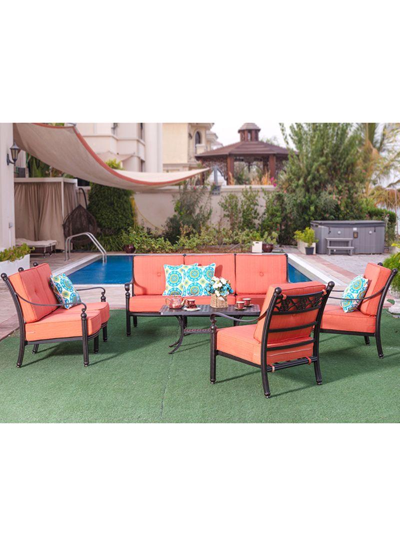 Shop Danube Home 5 Piece Rosy Cast Aluminium Sofa Set Orange Black