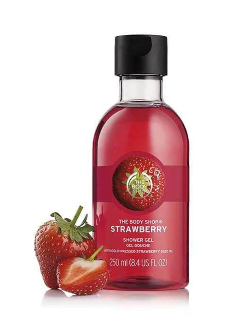 Shop the body shop Strawberry Shower Gel Red/Black 250 ml online in Dubai,  Abu Dhabi and all UAE