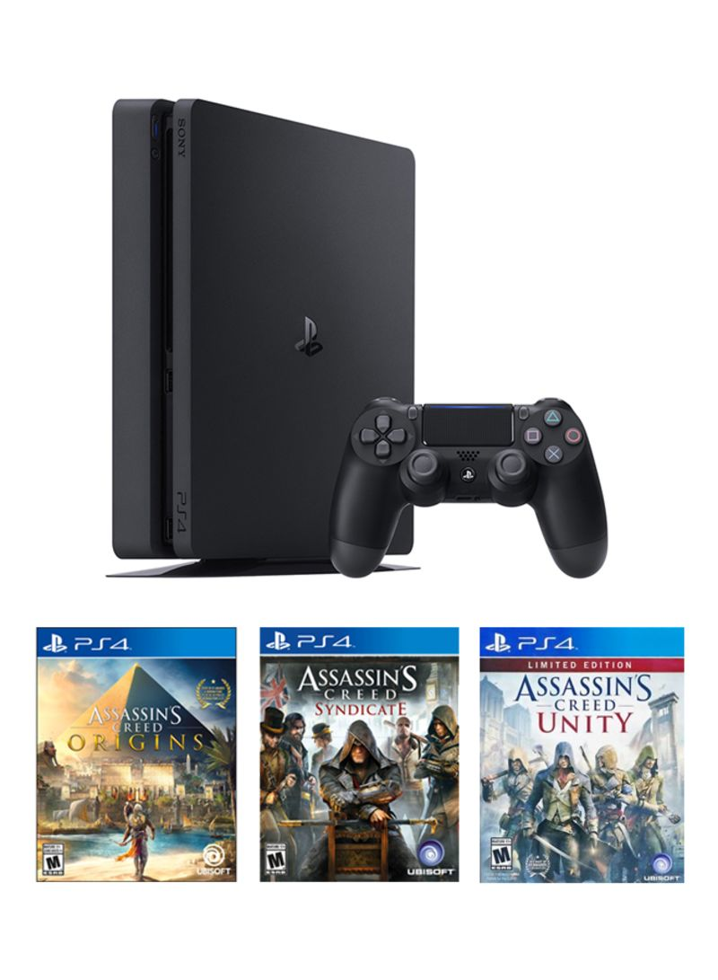 Playstation 4 Slim 500gb Console With 3 Games Gaming Consoles Ps4 Gold Edition