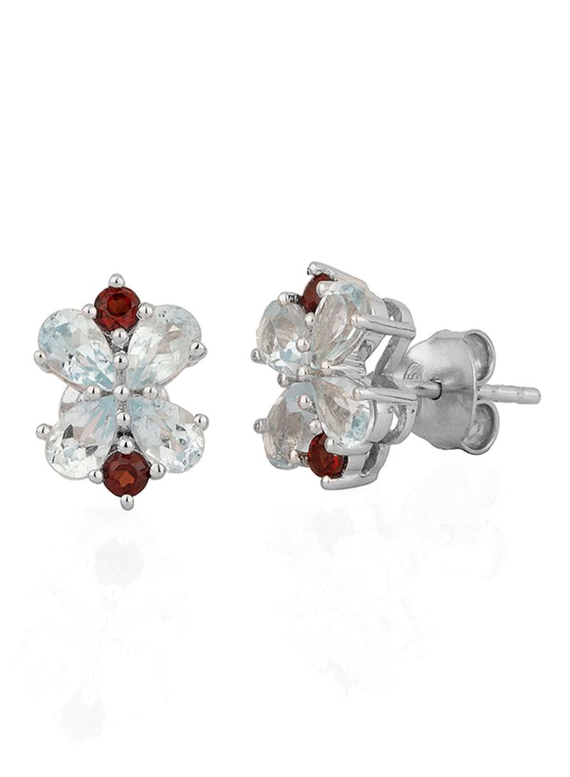 73feaccfa Shop VOYLLA 925 Sterling Silver Studs Earrings With Garnet And Topaz ...