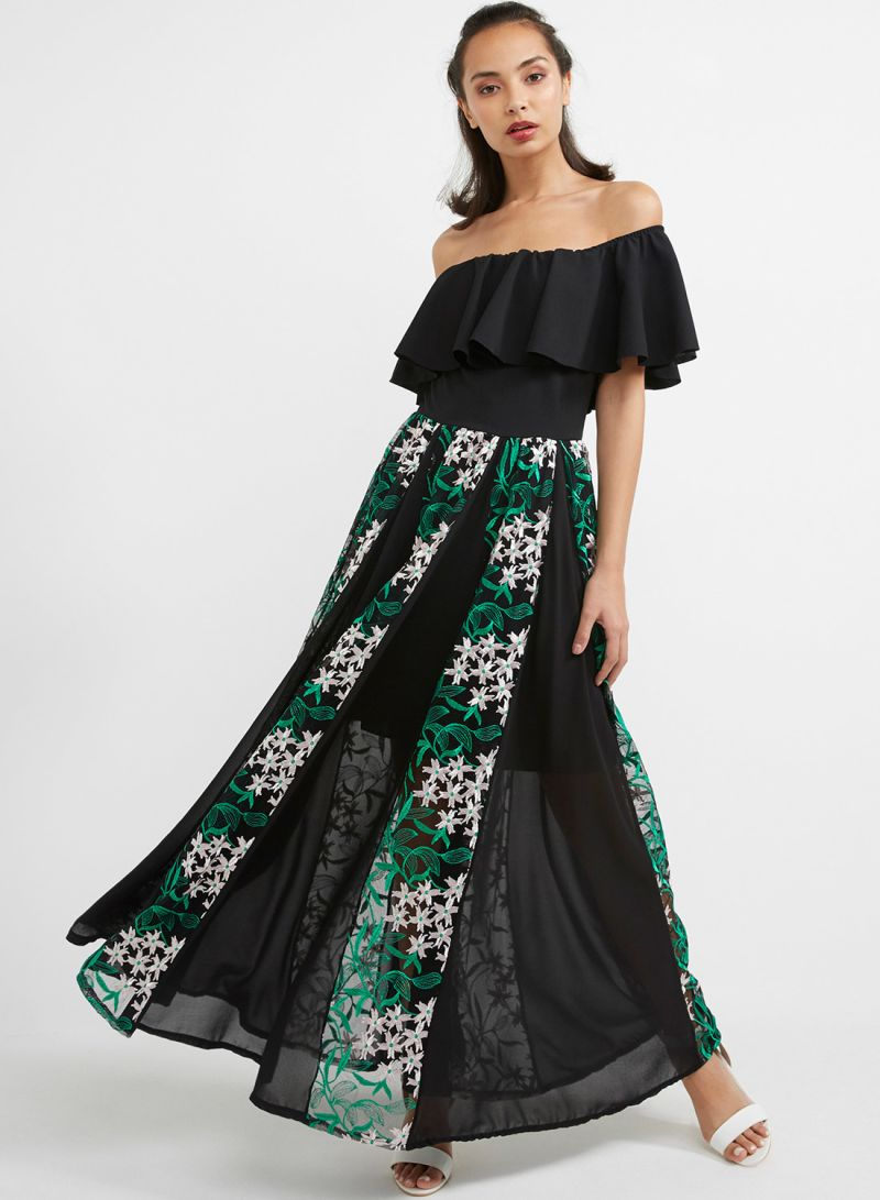 1b4e34987f80 Off The Shoulder Lace Embroidered Maxi Dress Black Green Price in ...