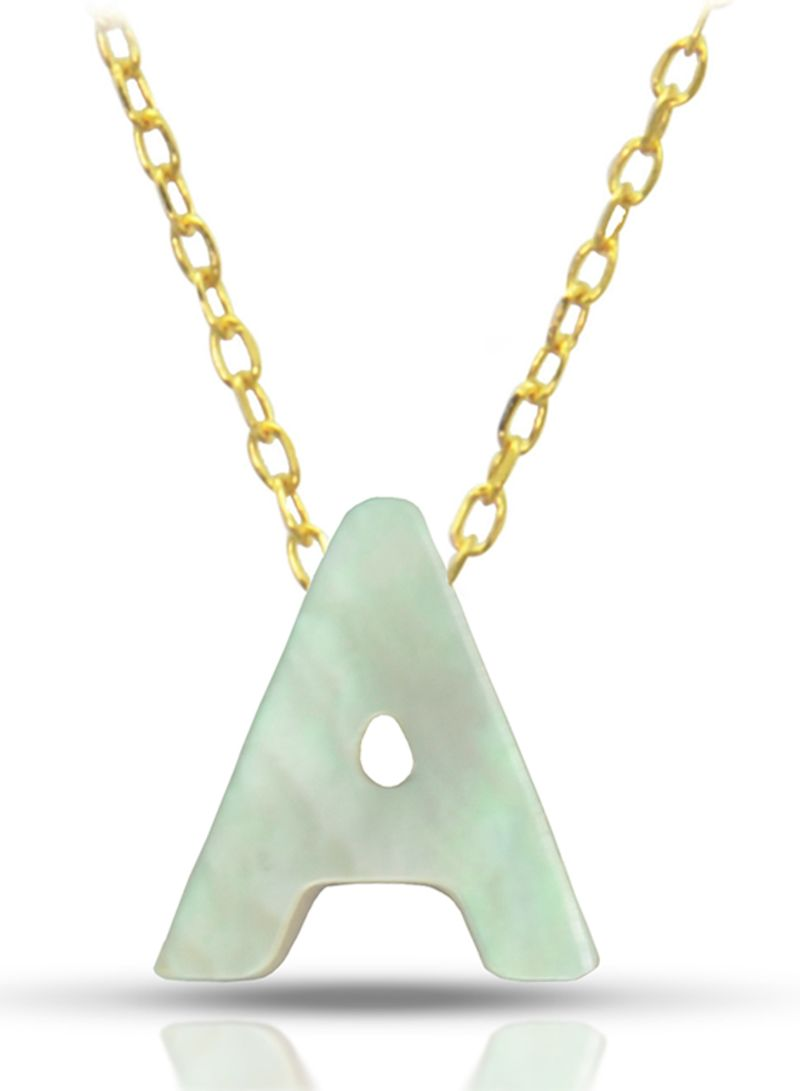 18K Gold A Letter Mother Of Pearl Necklace
