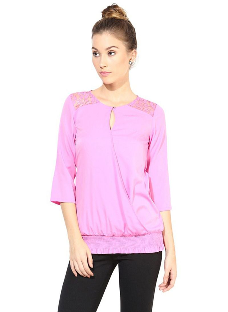 d2d593a761c8b Shop The Vanca Casual Top With Lace At Yoke Pink online in Dubai ...