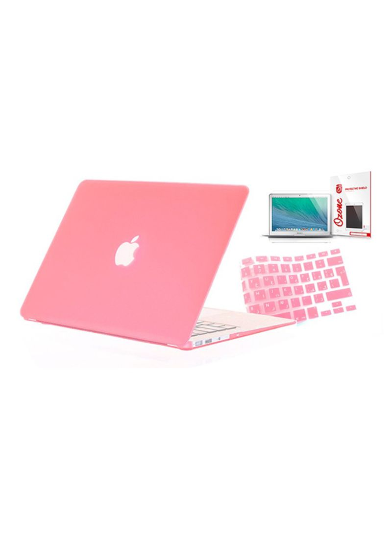 Shop Ozone Set Of Case, Arabic UK Keyboard Skin And Screen Guard Accessory  For MacBook Pro 13-inch Without Retina Pink online in Dubai, Abu Dhabi and