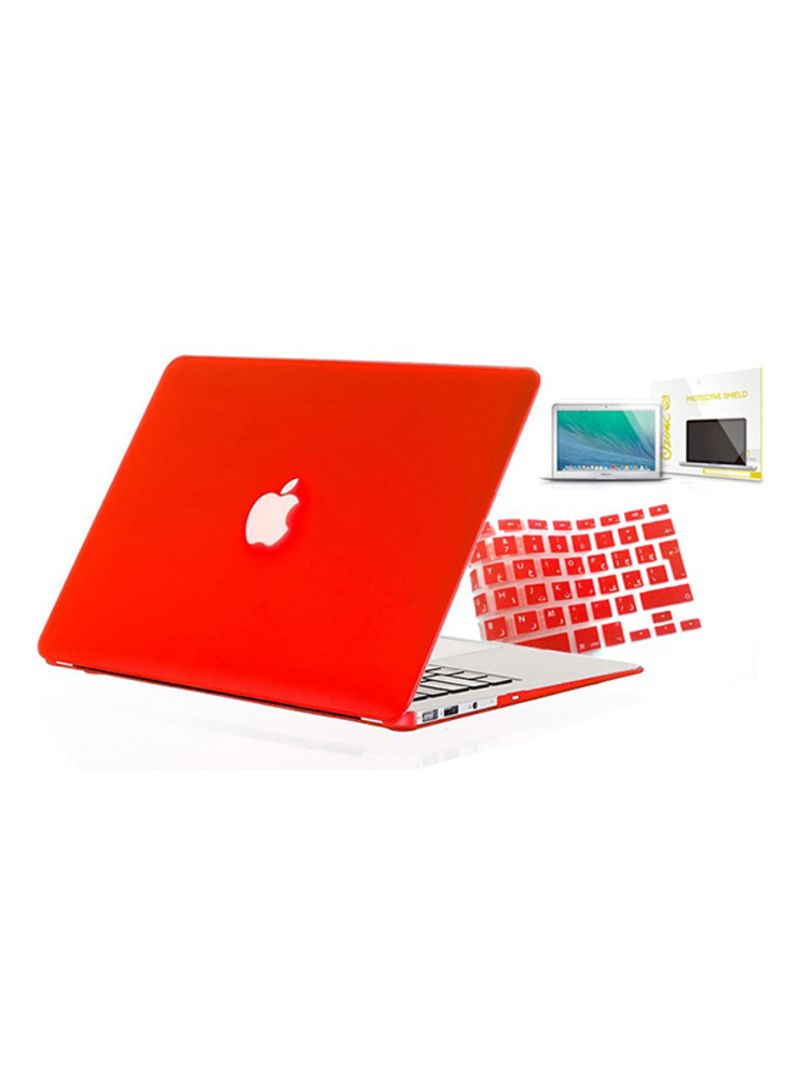 Shop Ozone Set Of Case, Arabic UK Keyboard Skin And Screen Guard Accessory  For MacBook Pro 13-inch With Retina Red online in Riyadh, Jeddah and all