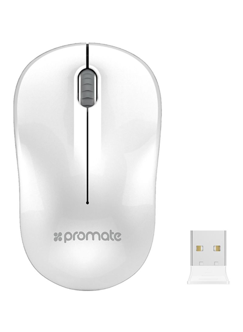Promate 24ghz Optical Wireless Mouse With Nano Bluetooth Usb Special Lightweight Receiver 15 Meter Working Range White
