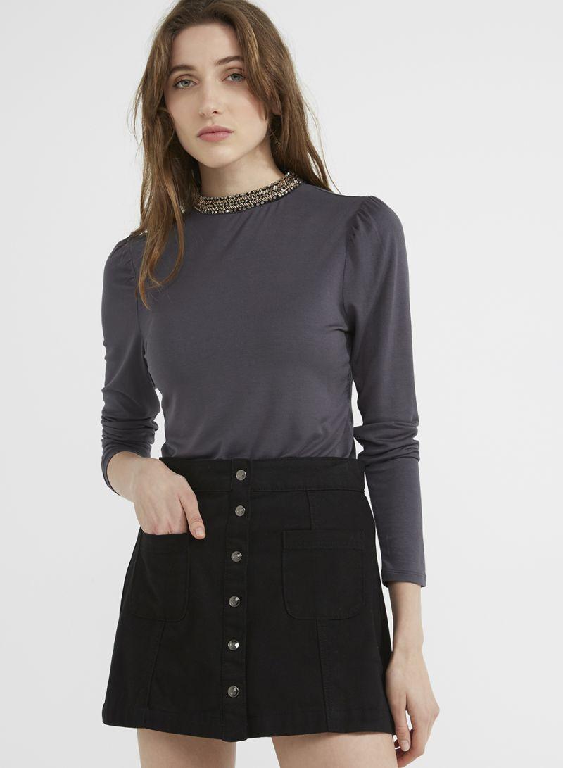 9be3aedd38d Neck Embellished Long Sleeve Top Dark Grey Price in Saudi Arabia ...