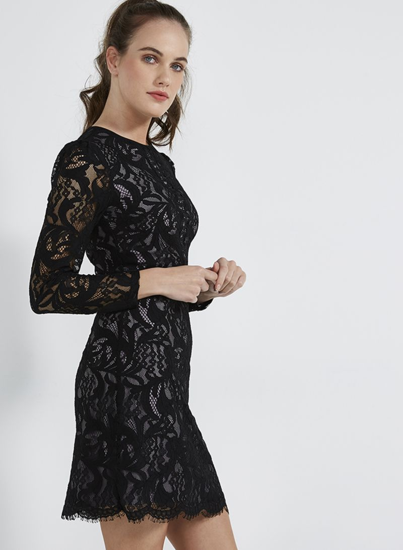 65647b751bf2 Shop Oasis Long Sleeve Lace Dress Black online in Riyadh, Jeddah and ...