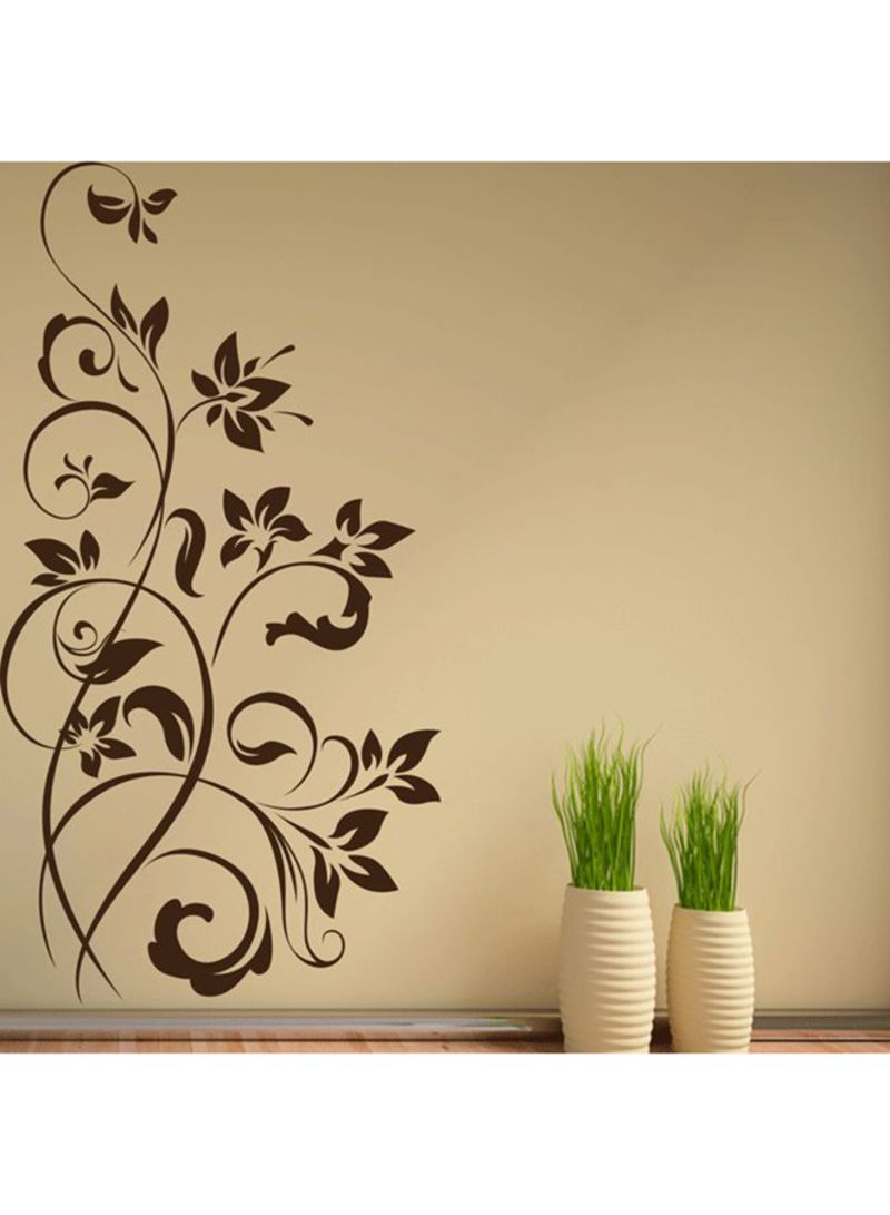 Floral Decorative Embellishment Wall Decal Brown 40x76 centimeter ...