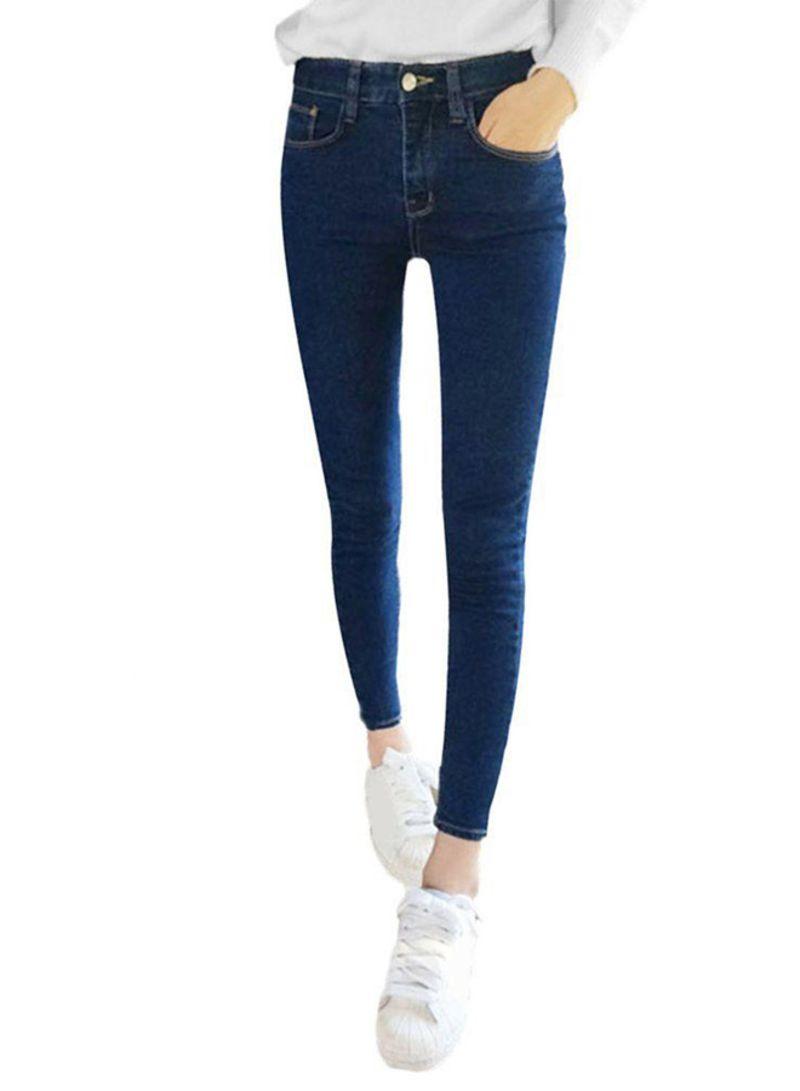 a46d15048 تسوق أوتاد وبنطلون جينز ضيق مطاط من الدينم بخصر مرتفع أزرق داكن ...