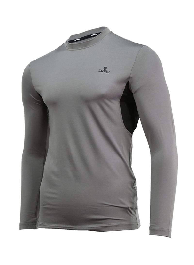 Shop DR3 Compression Long Sleeve T-shirt Dark Grey online in