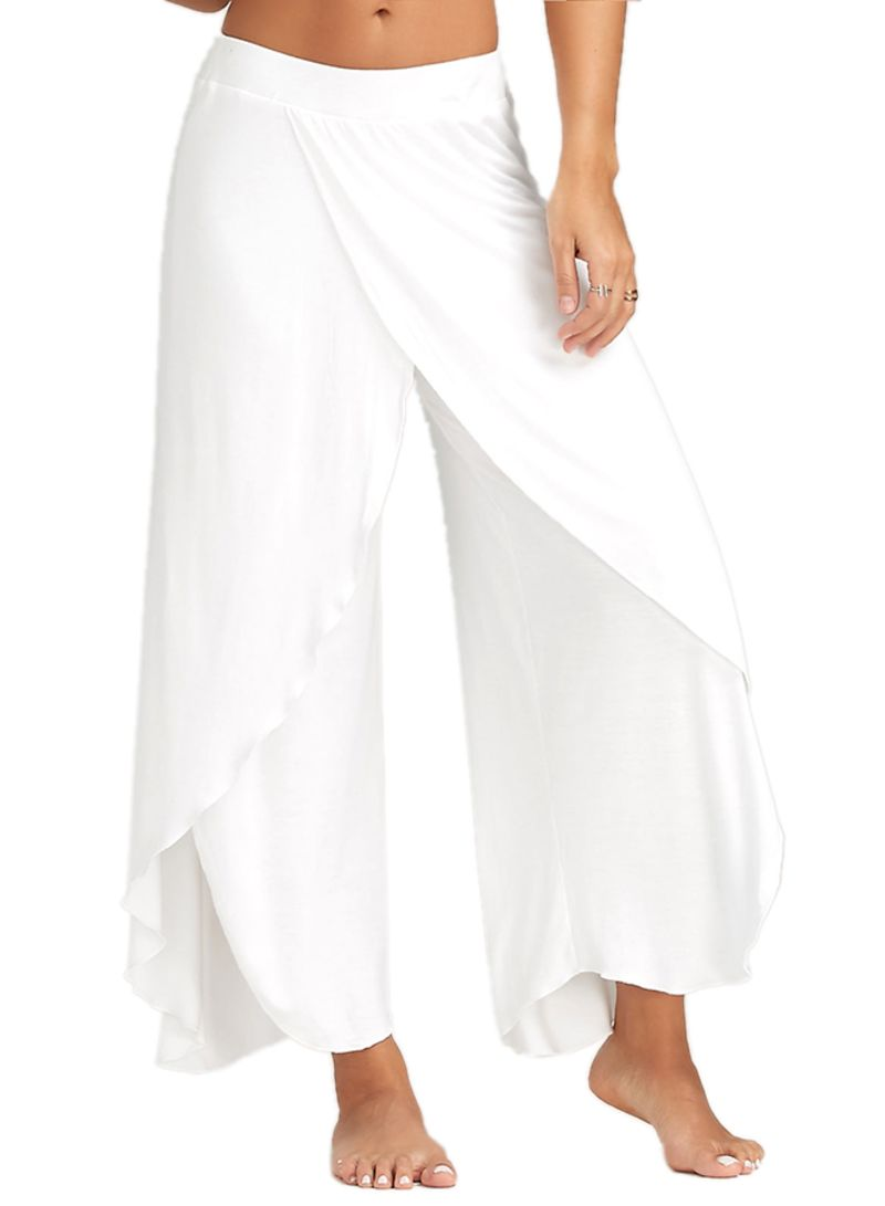5740050a2c1 Shop Unbranded High Slit Flowy Layered Palazzo Pants White online in ...