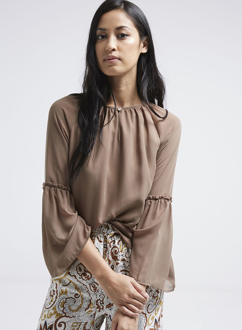 81fd284f539 Shop Seden Long Bell Sleeve Blouse Brown online in Dubai, Abu Dhabi ...