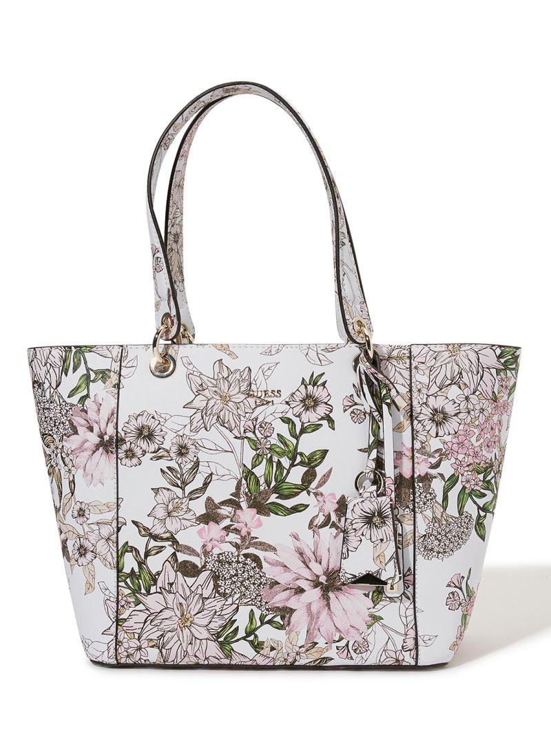 Shop GUESS Kamryn Floral Printed Tote White online in Riyadh