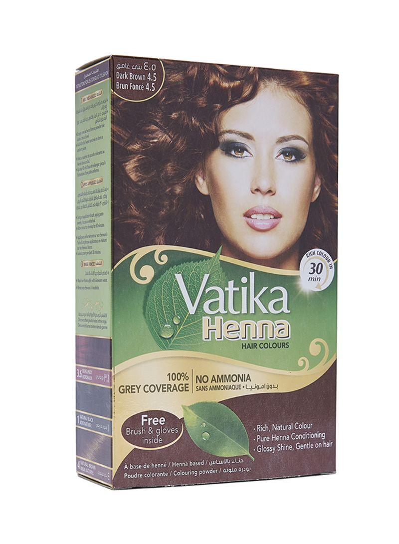 Shop Dabur Vatika Henna Hair Colour Dark Brown 4 5 60 G Online In