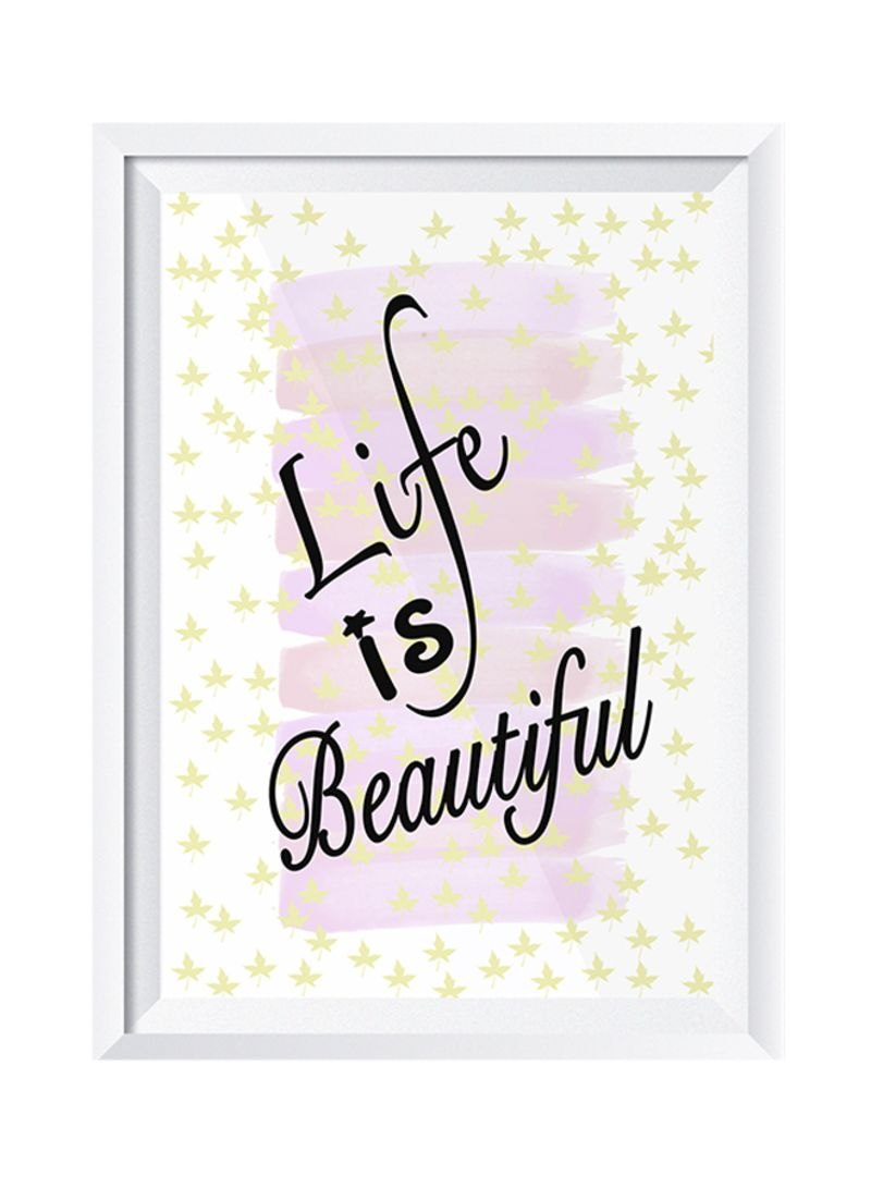 Shop Lowha Life Is Beautiful Wall Art Painting With Frame Whitepink
