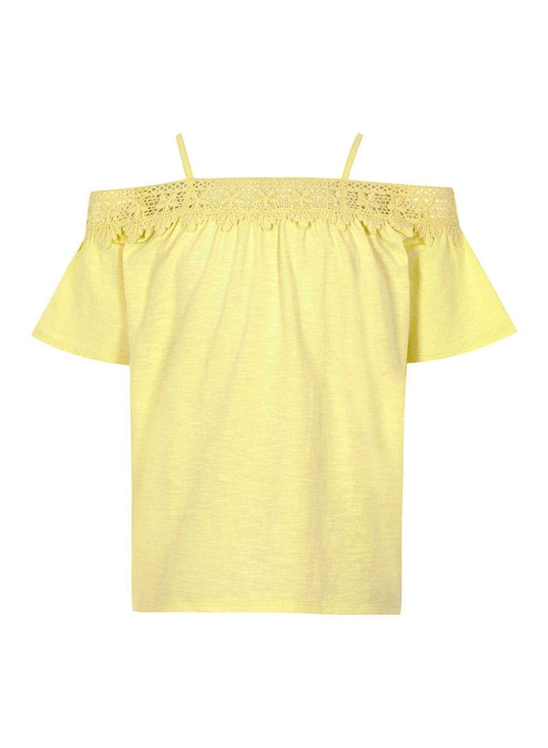 Shop River Island Girls Lace Bardot Top Yellow Online In