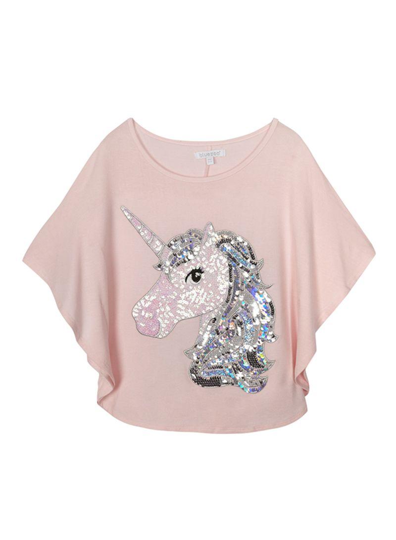 0a1473af0872 Shop Debenhams Bluezoo Light Sequinned Unicorn Cape Top Light Pink ...