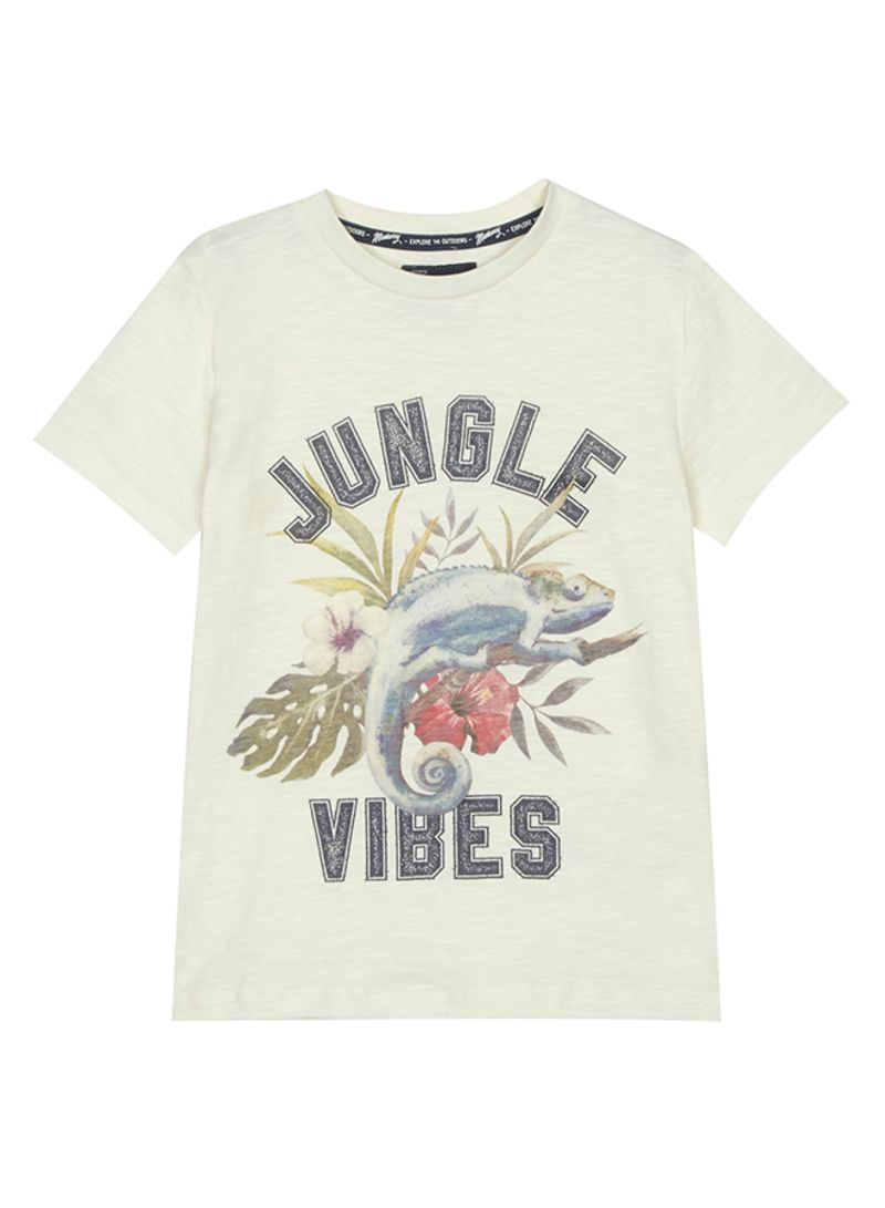 81257b6a Shop Debenhams Kids Mantaray Jungle Vibes Print T-Shirt Cream online ...