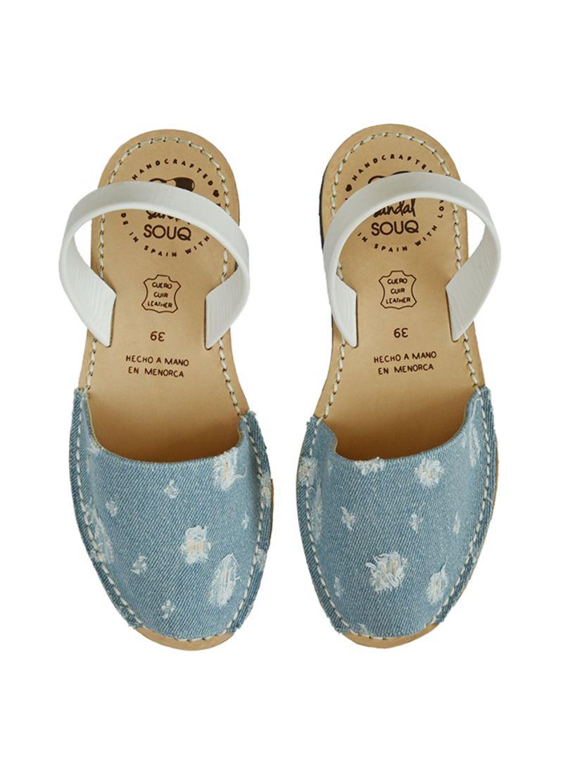 Shop sandal SOUQ Distressed Denim Slingback Sandal online in Riyadh