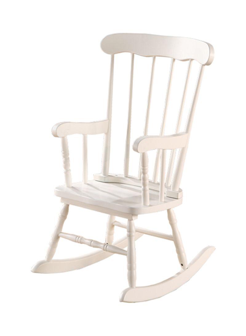 Homes R Us Mia Kids Rocking Chair White 55x79x54