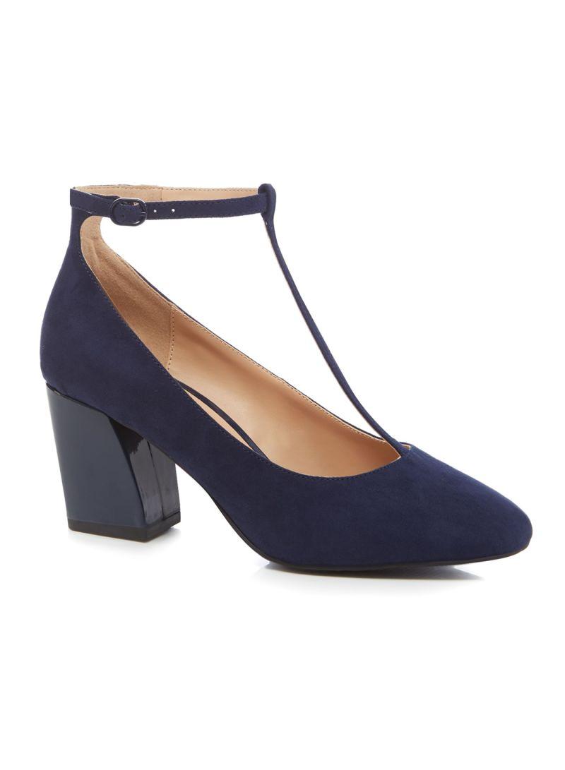Shop Debenhams Carin High Block Heel Wide Fit T Bar Shoes online in ...