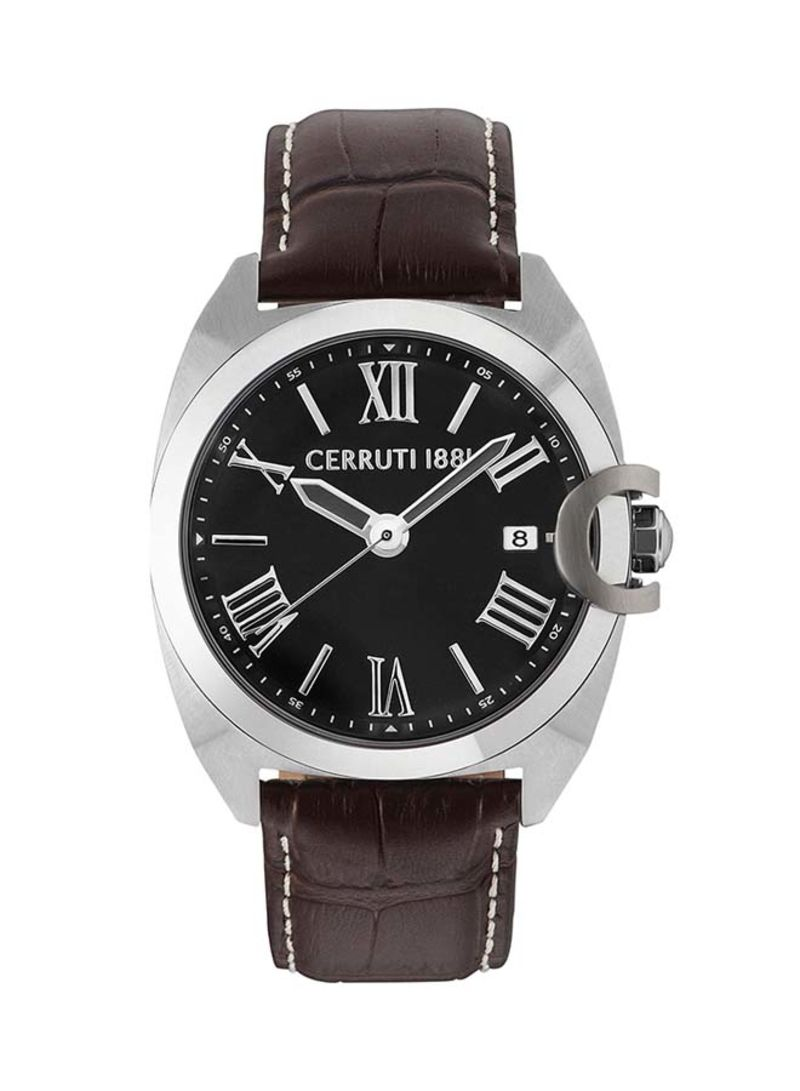 d6449b9b55 Shop CERRUTI 1881 Men's Leather Analog Watch C CRWA183SN02BR online ...