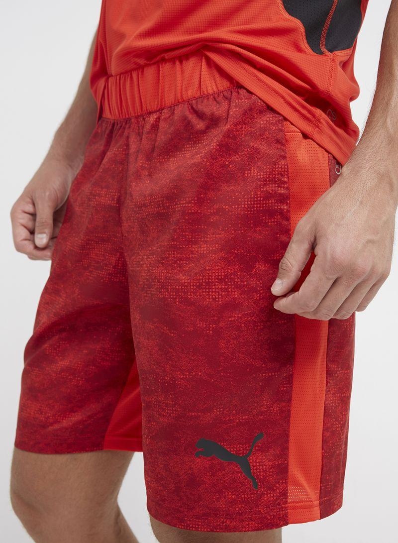 da5ab9b39 Shop Puma Tech Graphic Woven Shorts Flame Scarlet-Red Dahlia online ...