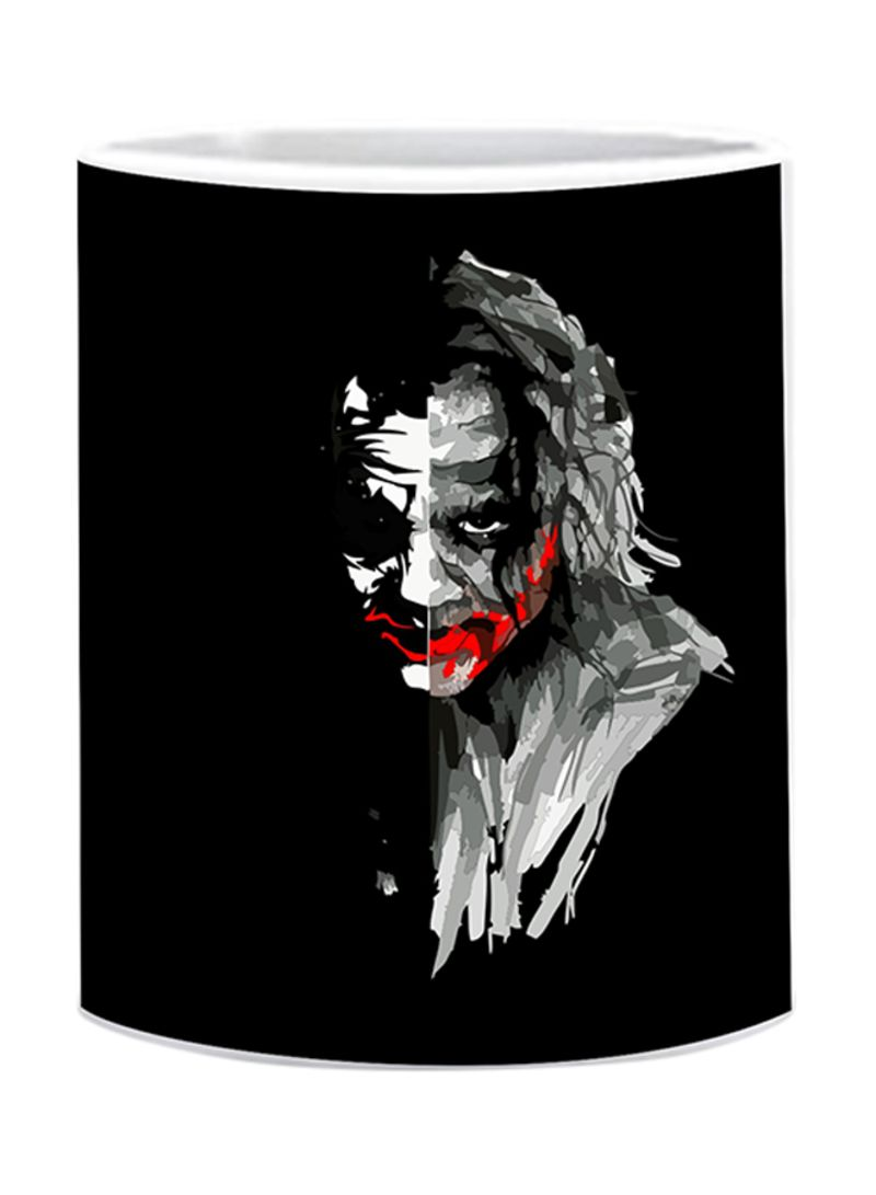 Black joker face printed mug black 10 centimeter