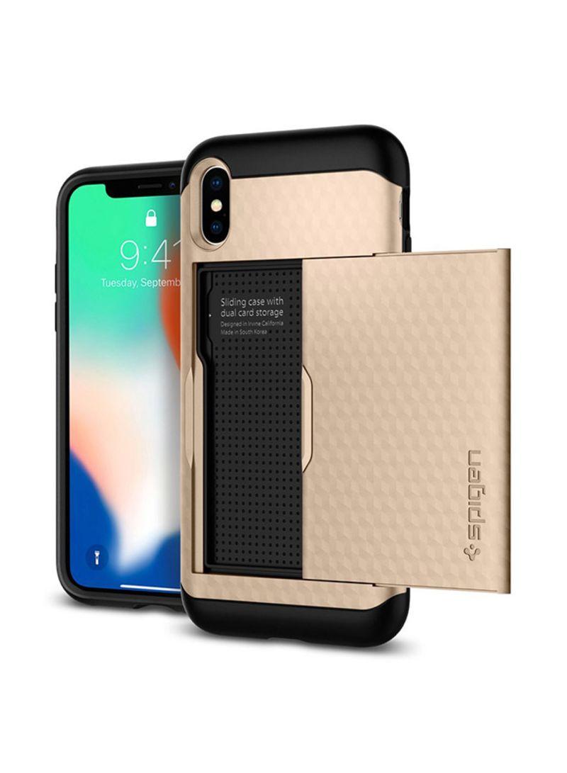 Polycarbonate Crystal Wallet Case For Iphone X Gold Mobile Spigen Air Skin Black