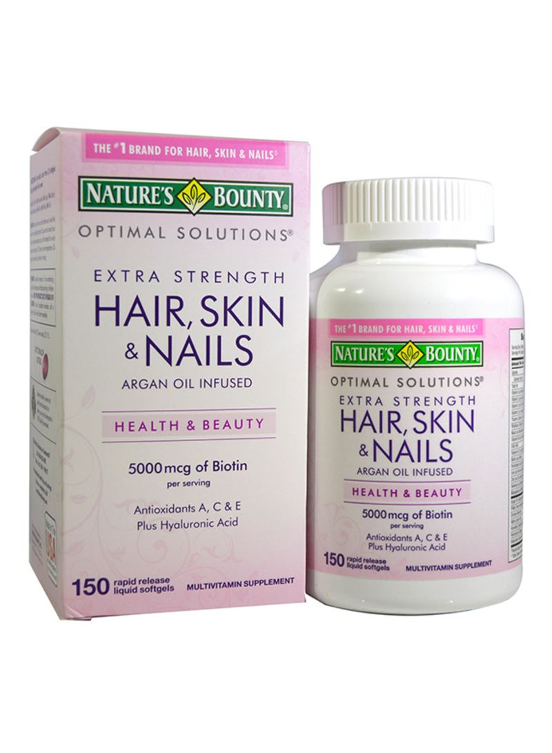 Shop Natures Bounty Optimal Solutions For Hair Skin And Nails 150 Softgels Online In Dubai Abu Dhabi And All Uae