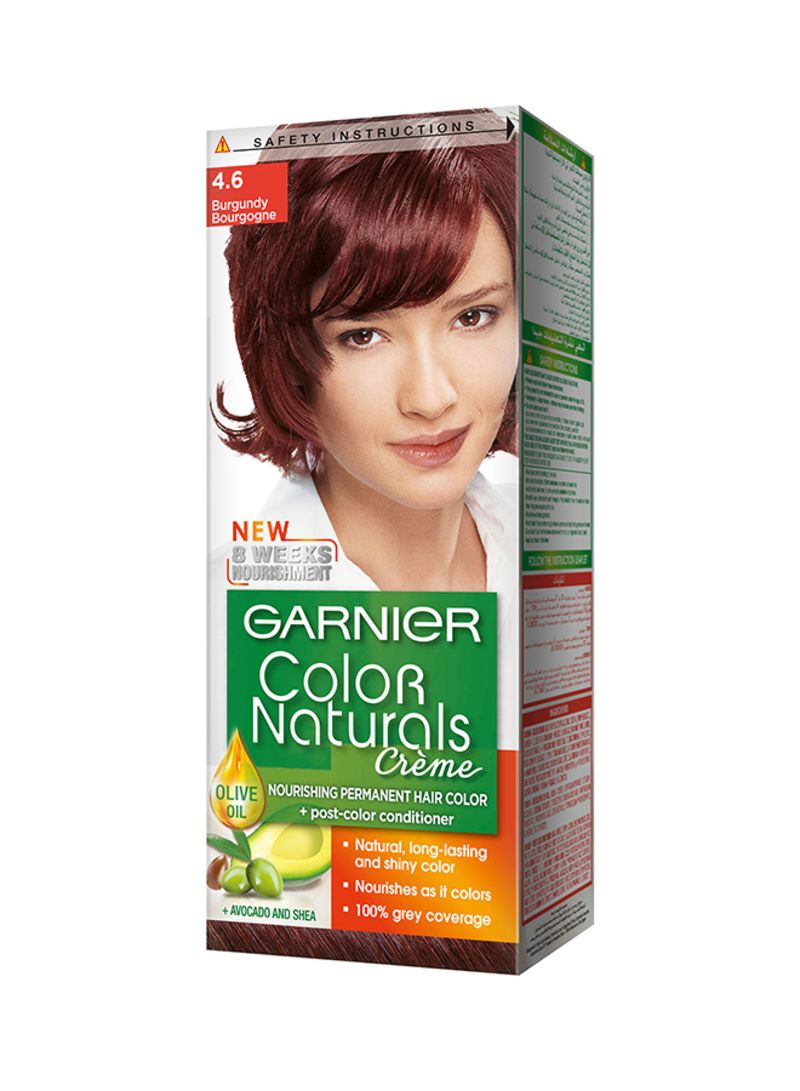 Shop GARNIER Color Naturals Permament Hair Color Cream 4.6 Burgundy online  in Dubai, Abu Dhabi and all UAE