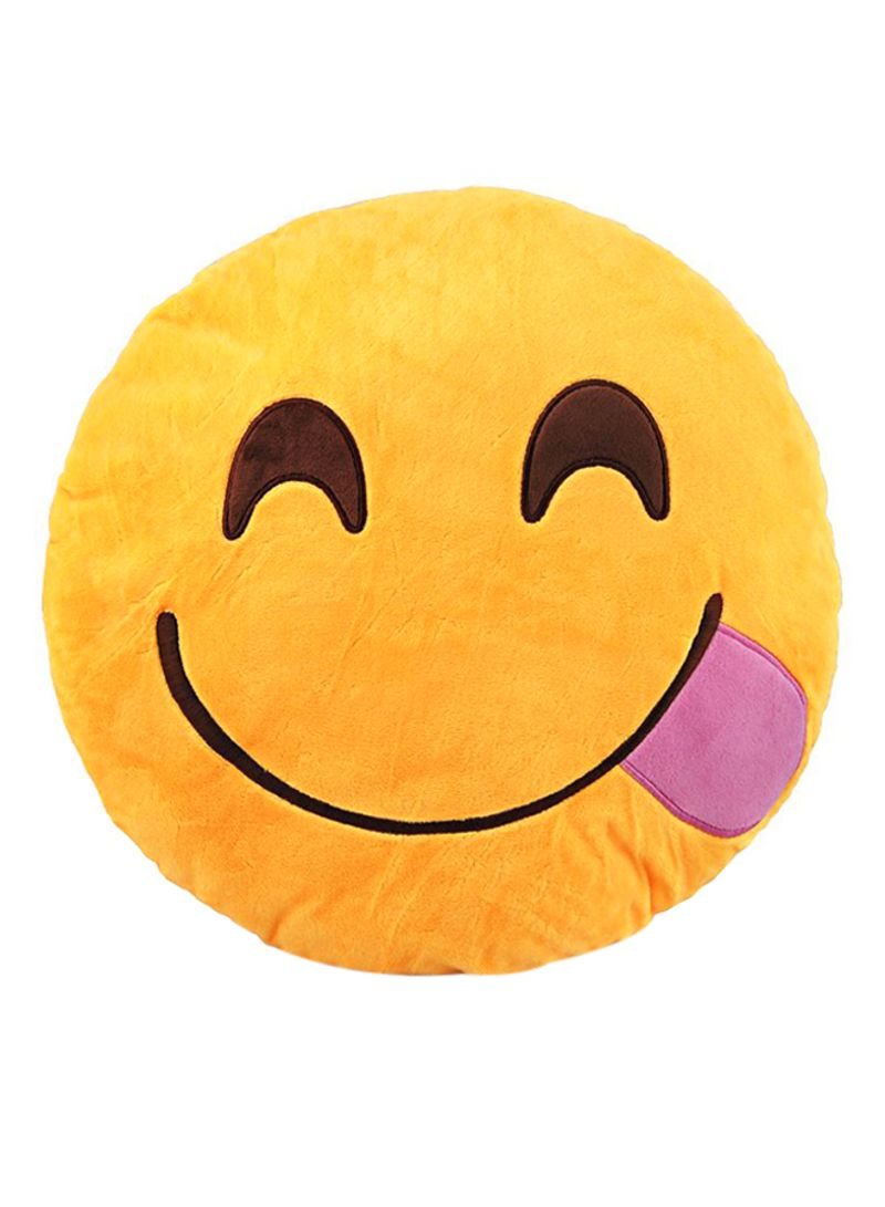 8297bfe6e5d otherOffersImg_v1522849952/N14022204A_1. BeeCool. Emoji Smiley Emoticon  Tongue Outside Round Cushion Pillow Cotton Yellow