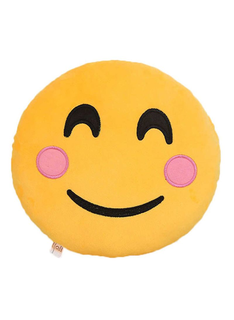 de87cbf5bfb Emoji Smiley Emoticon Blushing Face Round Cushion Pillow Cotton Yellow
