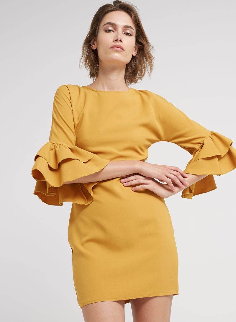 b21059eabcaa Shop PARISIAN Bell Sleeve Bodycon Mini Dress Mustard online in Dubai ...