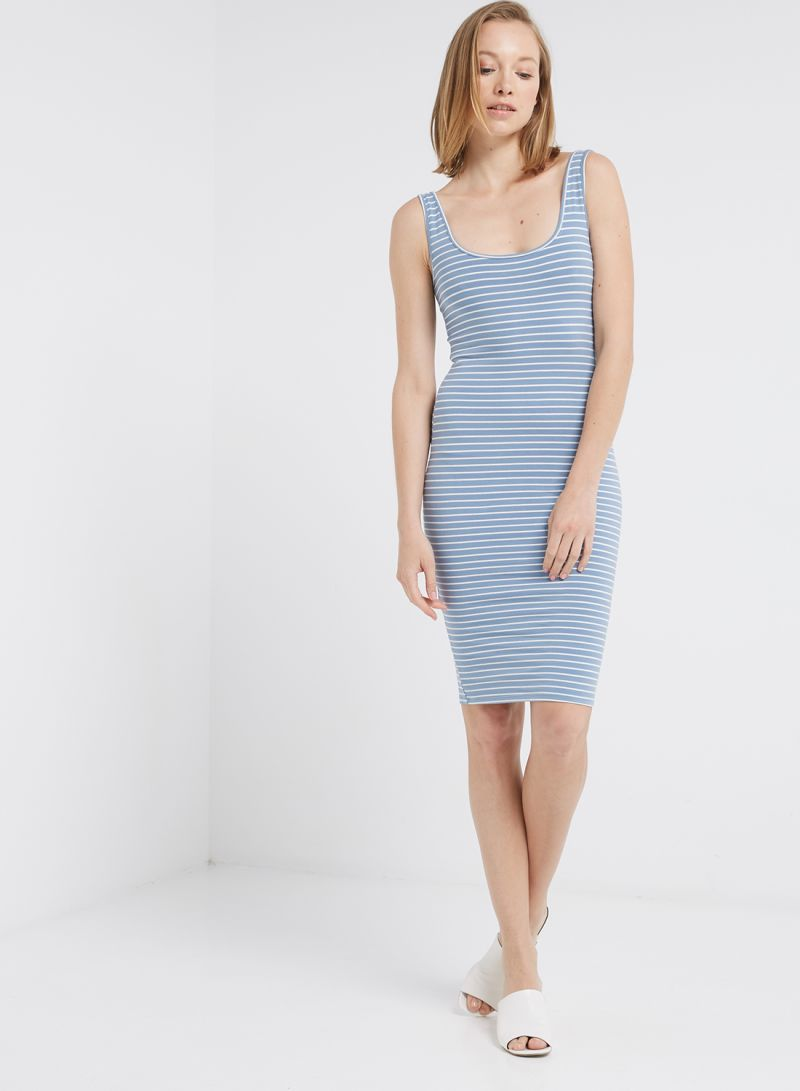b0a966040e9 Shop Forever 21 Striped Knitted Dress Dusty Blue Cream online in ...