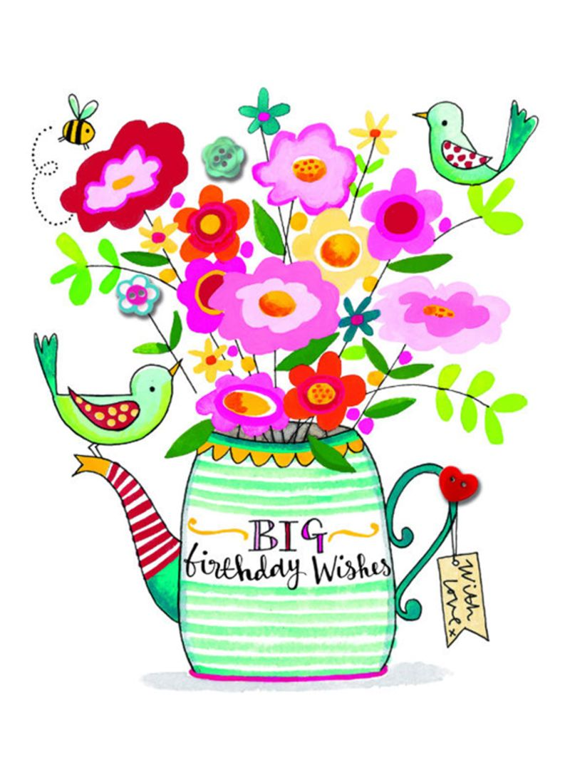 Big Birthday Wishes Teapot Of Flowers Greeting Card