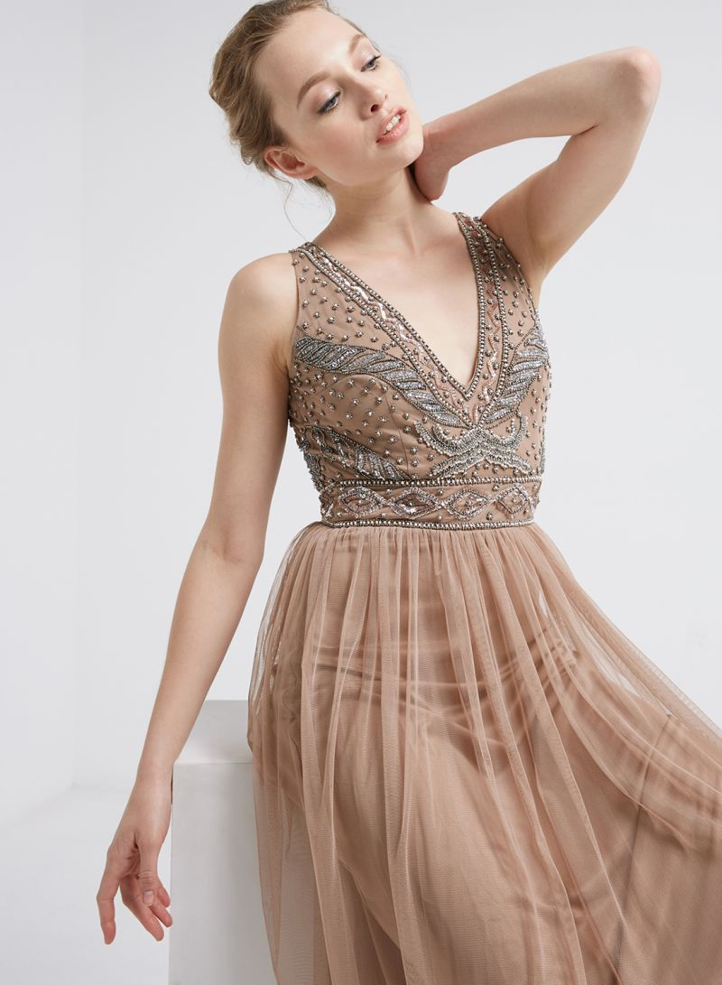 b332075d7d50 Shop TFNC London Amora Maxi Dress Beige online in Dubai, Abu Dhabi ...