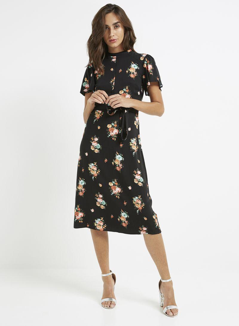 efb3e37958c9 Shop Oasis Bouquet Angel Sleeve Midi Dress Black online in Dubai ...