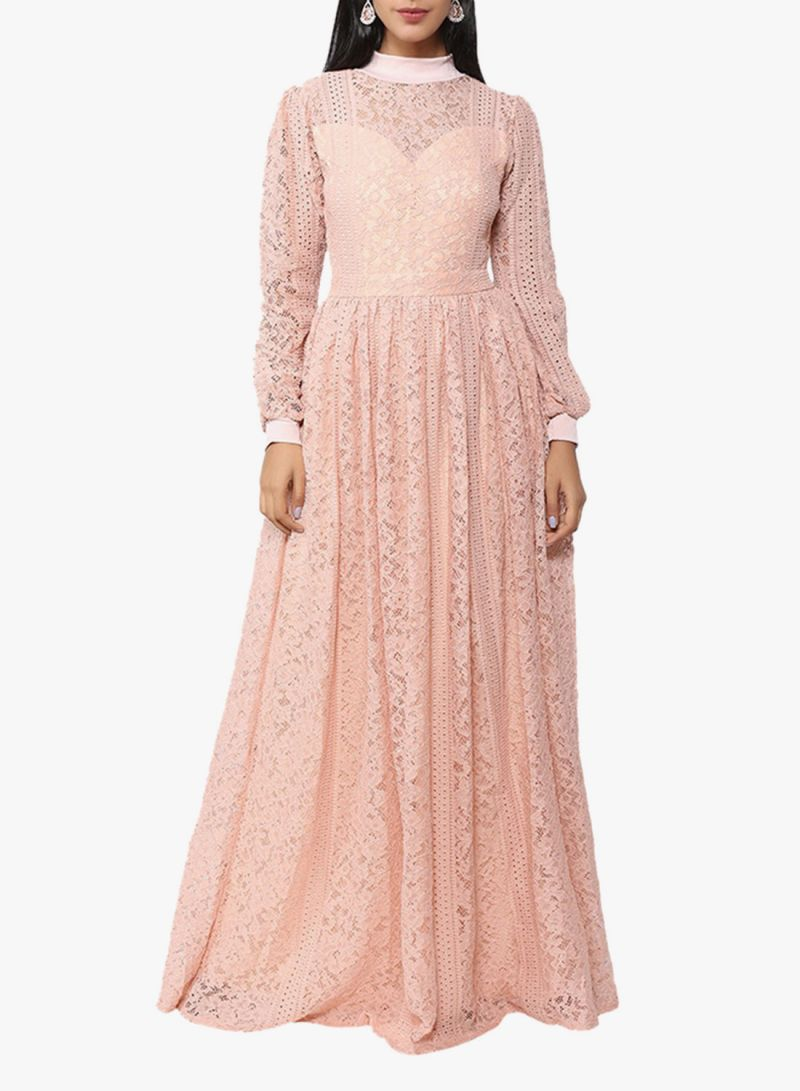 74e8037f4 تسوق أريا وفستان دانتيل طويل برقبة عالية نود أونلاين في السعودية