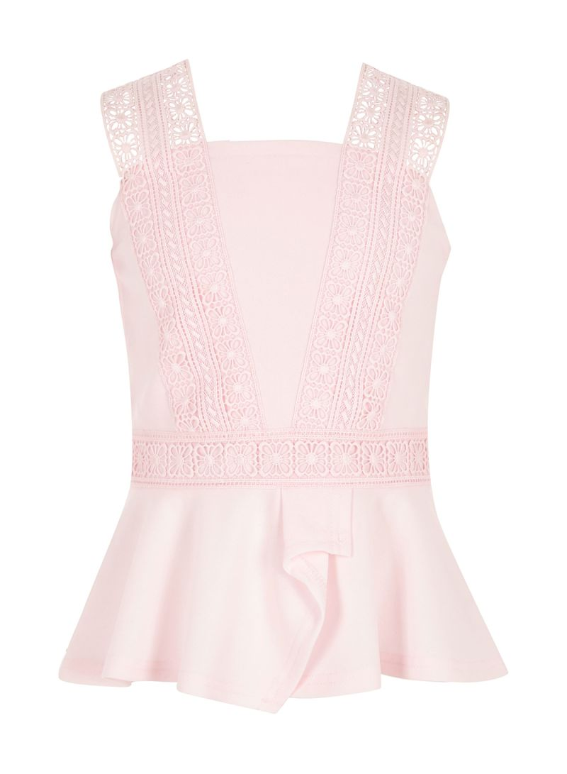e374f02ea5 Shop RIVER ISLAND Sleeveless Lace Peplum Top Light Pink online in Dubai