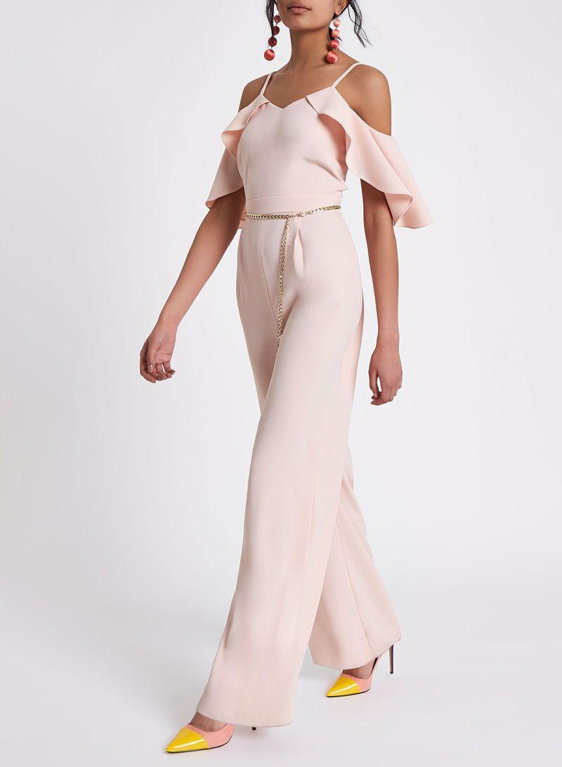16e8309994b2 Shop RIVER ISLAND Sage Cape Sleeve Jumpsuit Pink online in Dubai ...