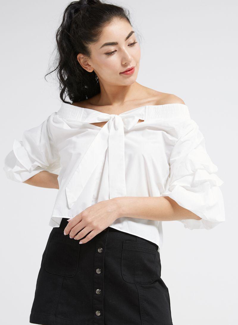 bc837d6c916 Shop Nour Puffed Sleeve Bardot Top White online in Dubai, Abu Dhabi ...