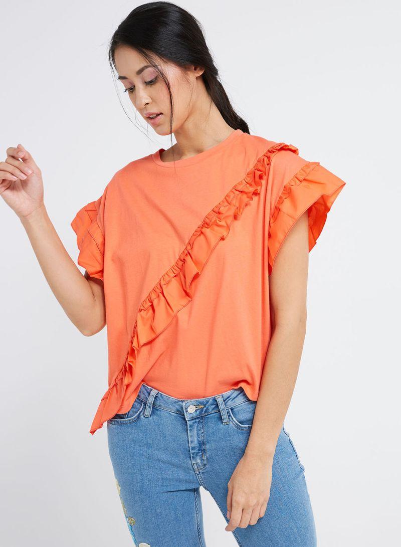 25d06312094554 Shop Mango Ruffle T-Shirt Orange online in Dubai, Abu Dhabi and all UAE