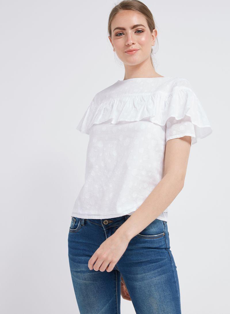 ab070990bde08d Shop Mango Ruffle T-Shirt 1Blanco online in Dubai, Abu Dhabi and all UAE