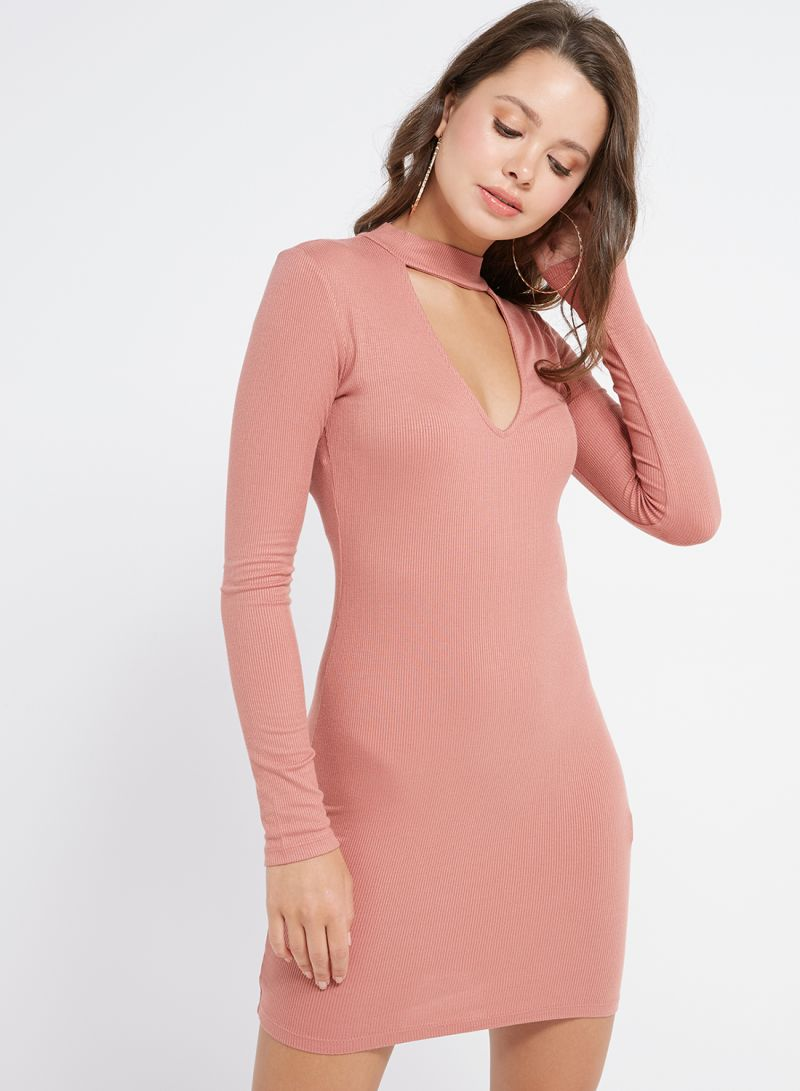 3f79baf63fdf78 Shop Forever 21 Choker Neck Ribbed Dress 06-Mauve online in Dubai, Abu  Dhabi and all UAE