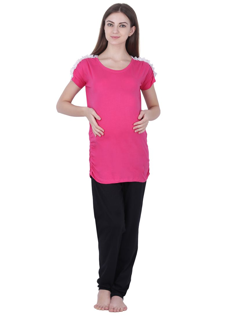 6ded6db849ffe Shop Soko Mesh Polo Maternity Top With Lace Pink online in Dubai ...
