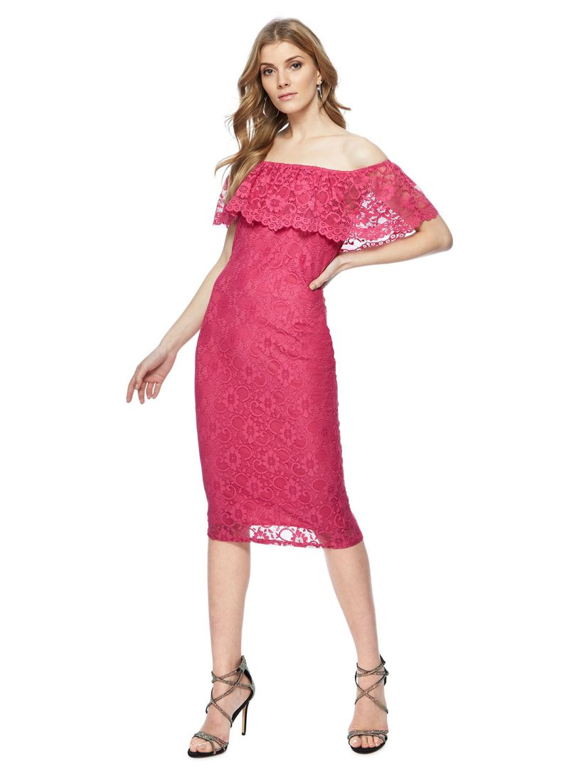 3a2024be8eee Shop Debenhams Red Herring Lace Knee Length Bardot Dress Bright Pink ...